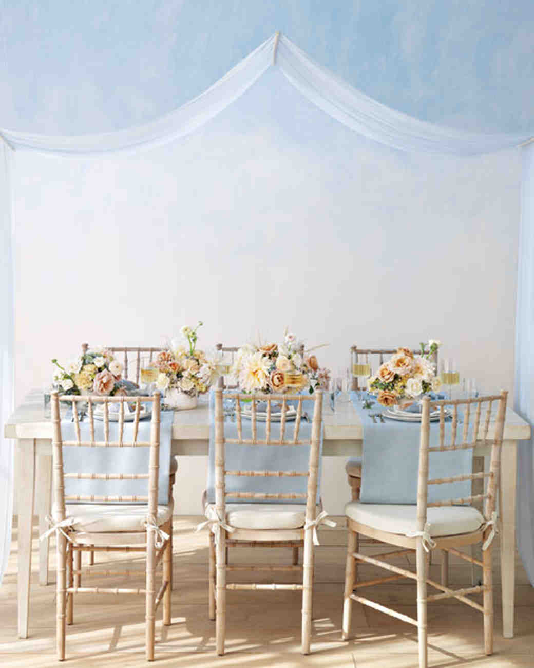 Powder Blue And Nude Table Decor