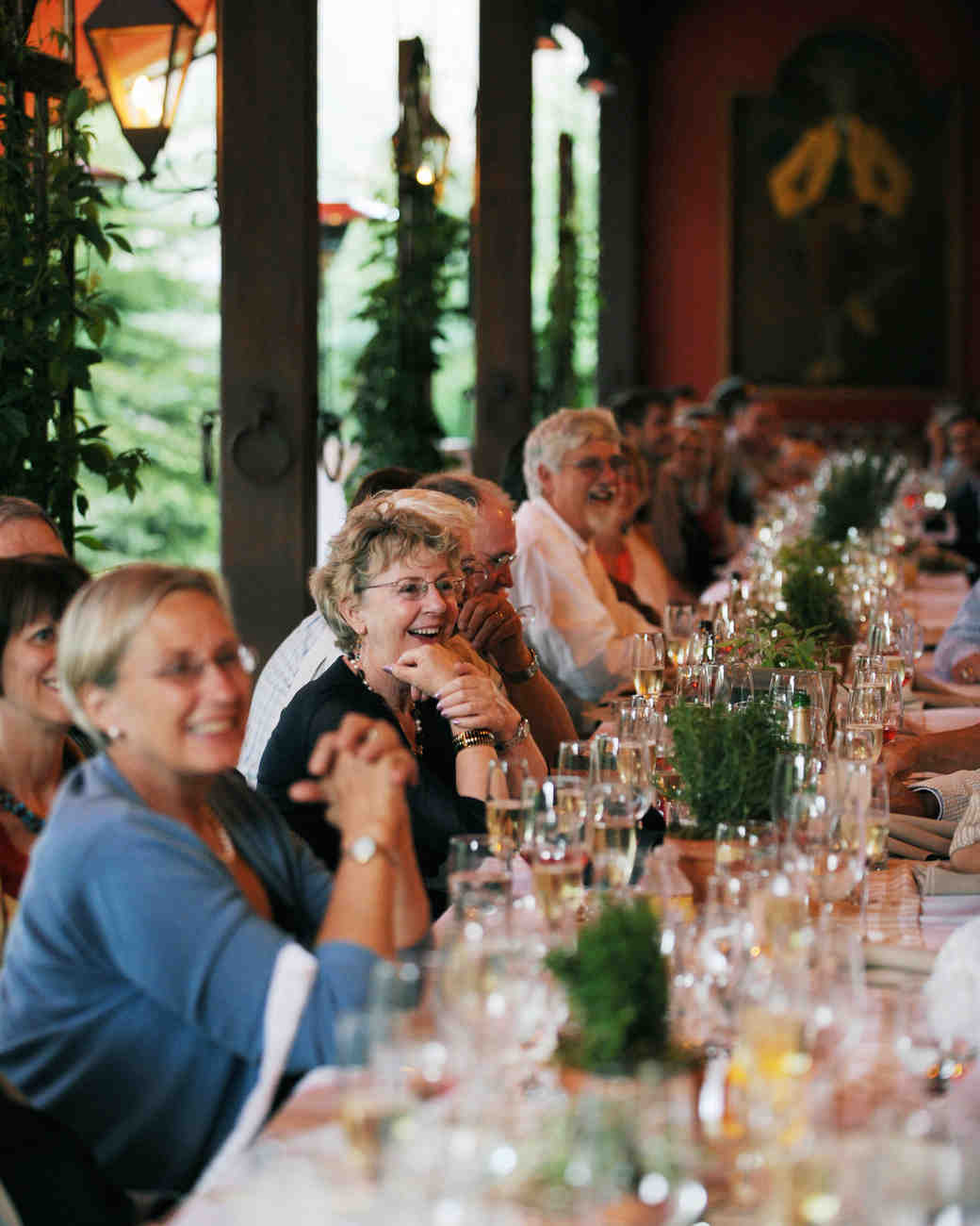 Guests Laughing at a Wedding Toast