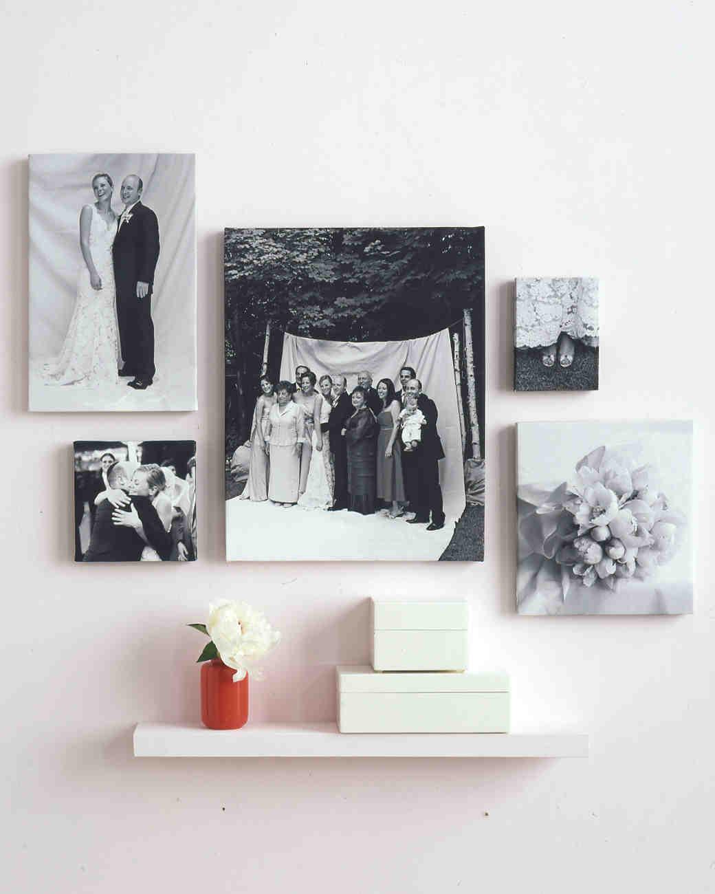 Hanging pictures clothesline wedding planning