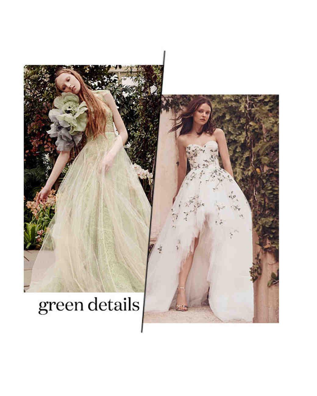 spring 2020 bridal fashion week green wedding dress trend