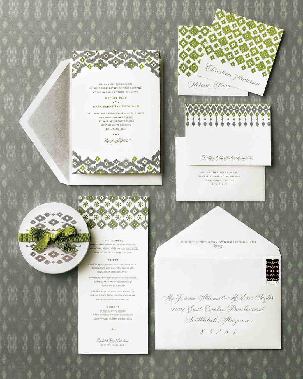 FabricInspired Wedding Invitations Martha Stewart Weddings