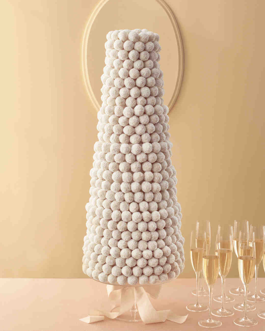 White Cake Ball-Covered Wedding Cake