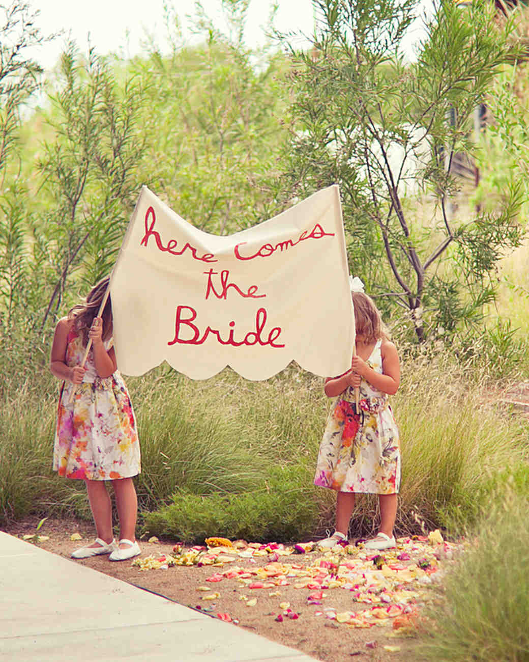 Kids Holding Here Comes The Bride Sign
