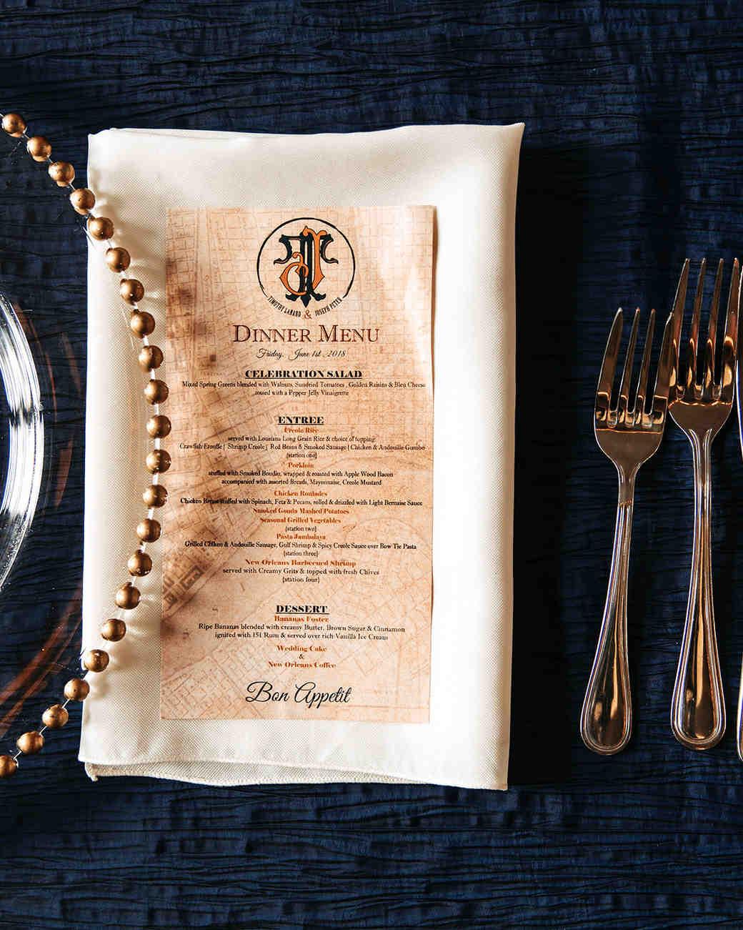 joe tim new orleans wedding menu and dinner plates