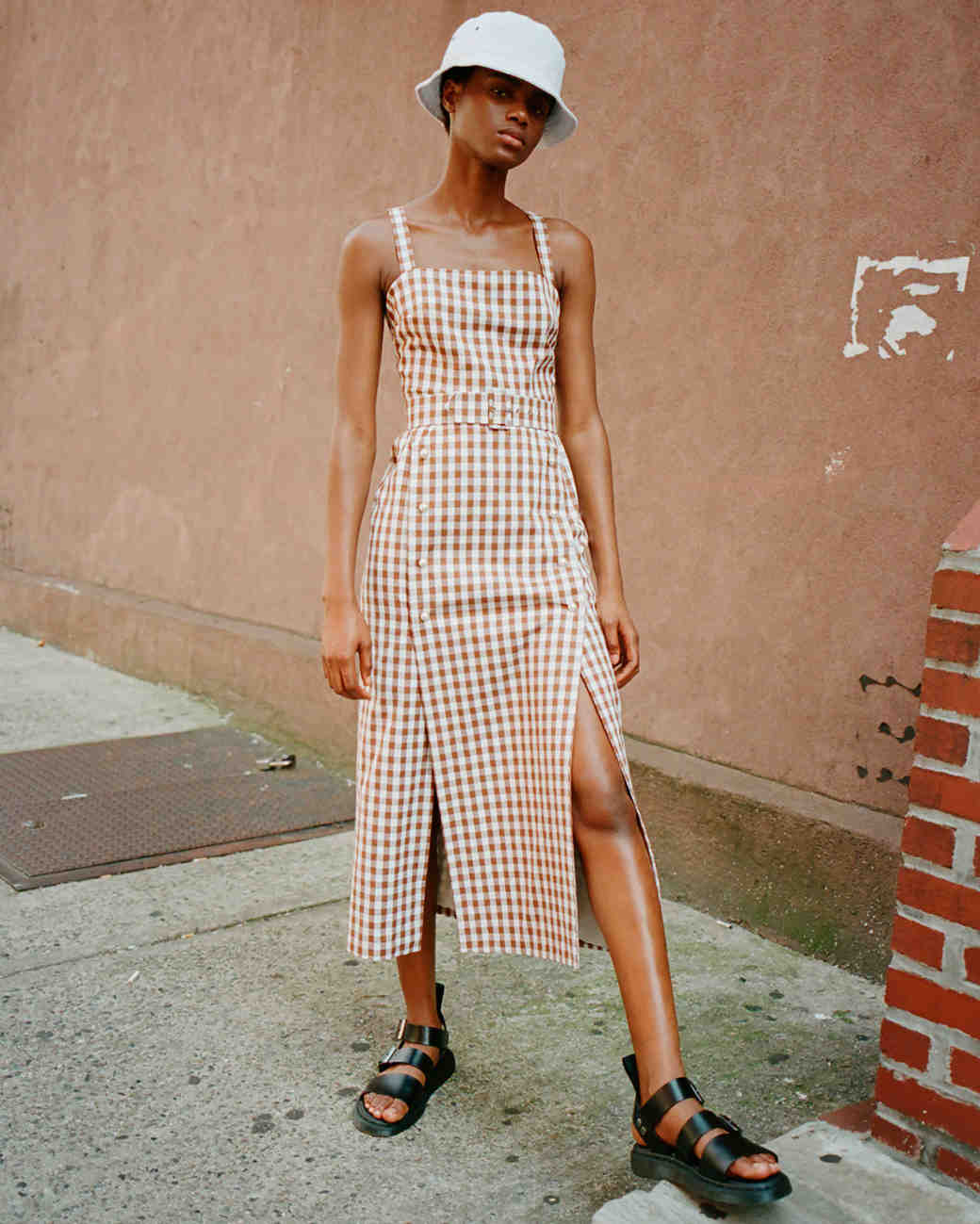 lein fall 2019 belted brown checker patterned tea length sheath with slits on both sides