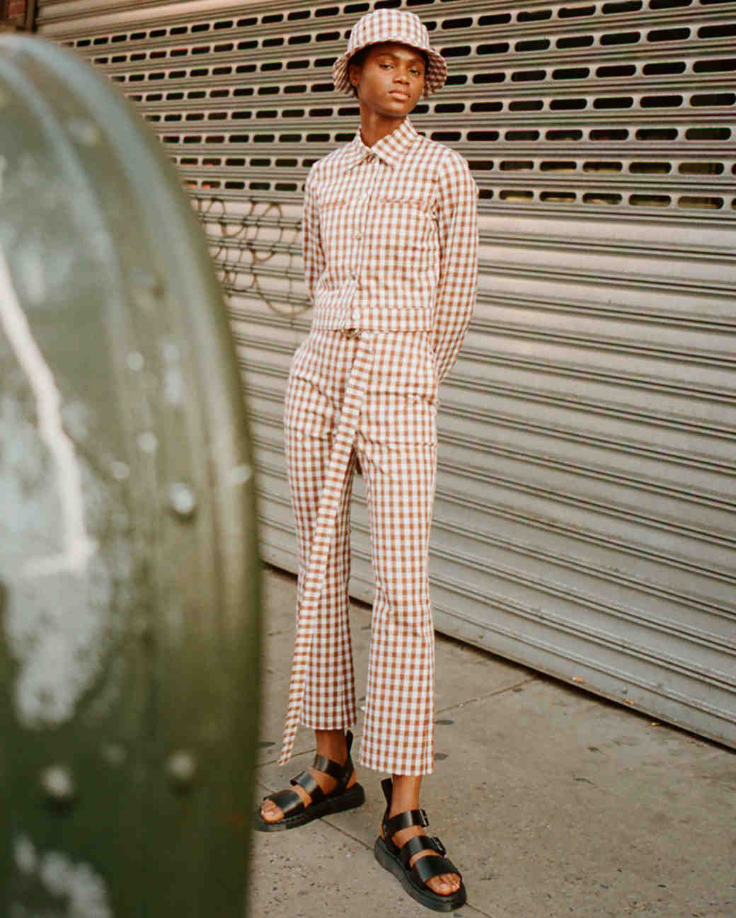 lein fall 2019 belted brown checker patterned pant suit