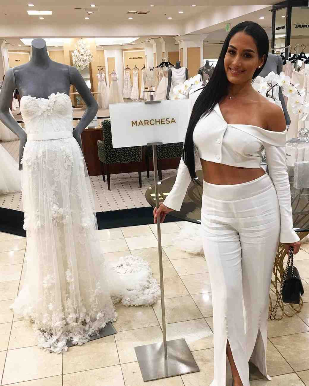 Nikki Bella looking for wedding dresses at Marchesa
