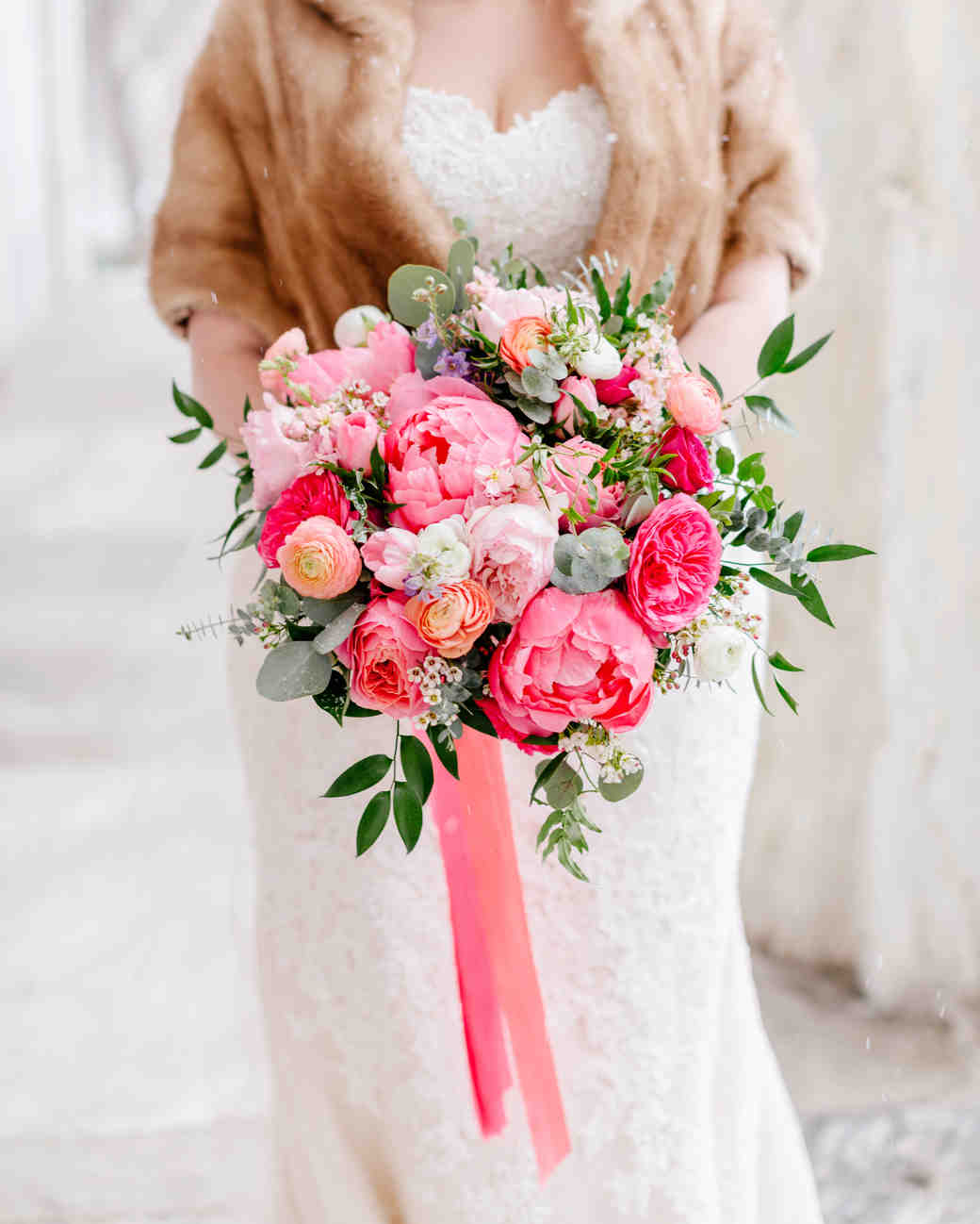 half-bloomed pink peony bouquet