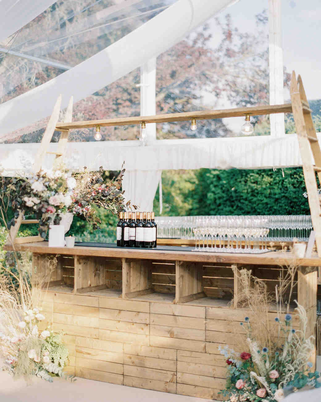 apple crates and ladders built rustic bar