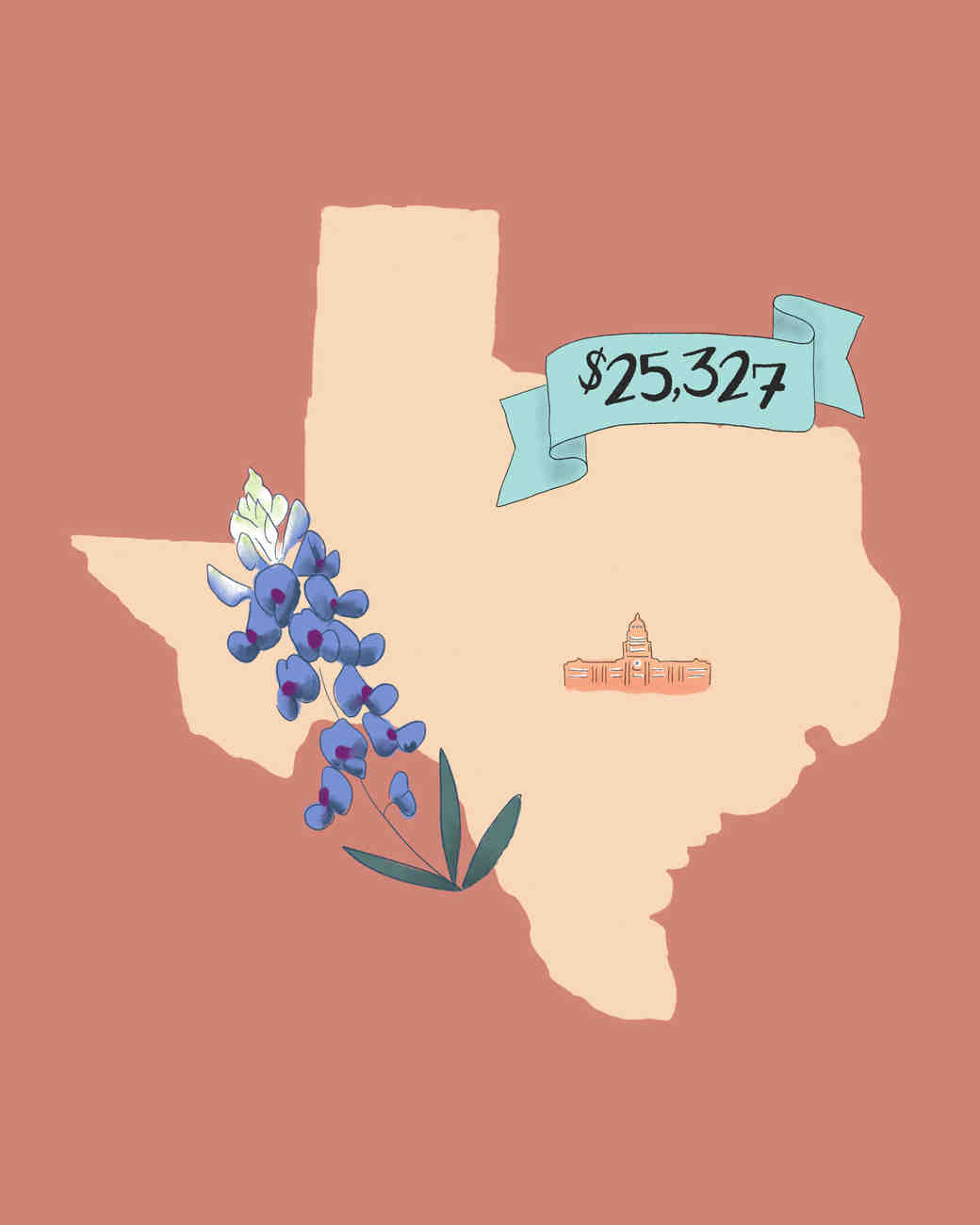 state wedding costs illustration texas