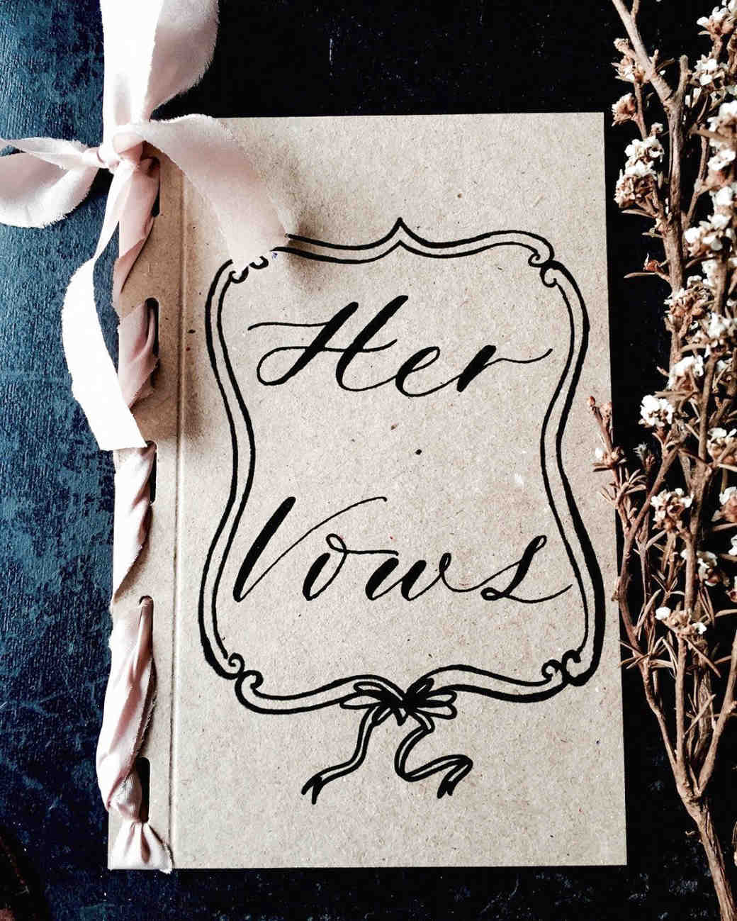 her vows book recycled card cover and dyed silk ribbon