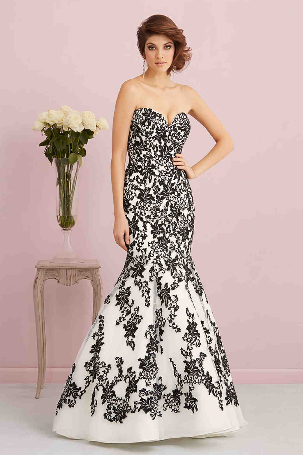 Allure Romance black and white wedding dress