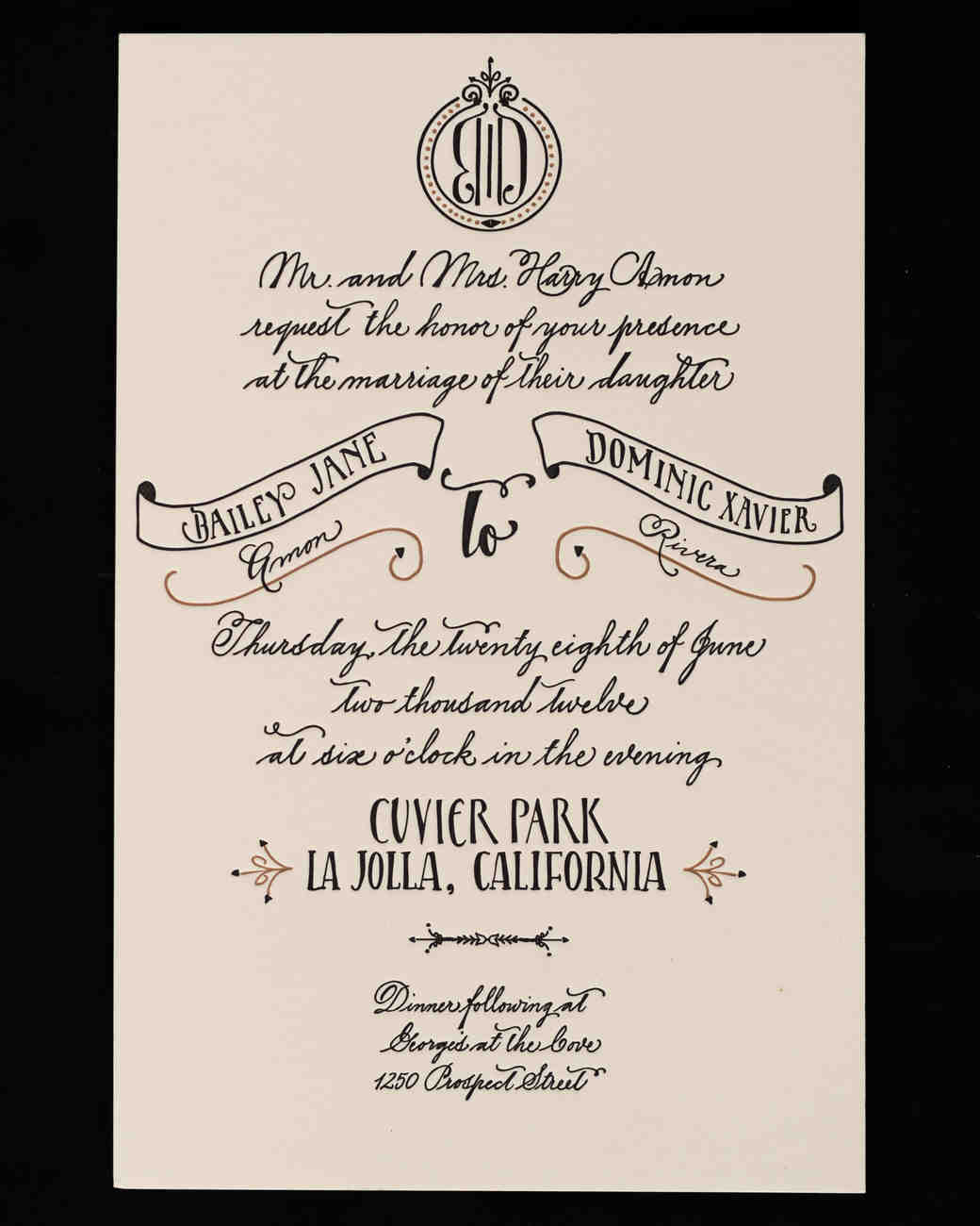 black and cream wedding invitation