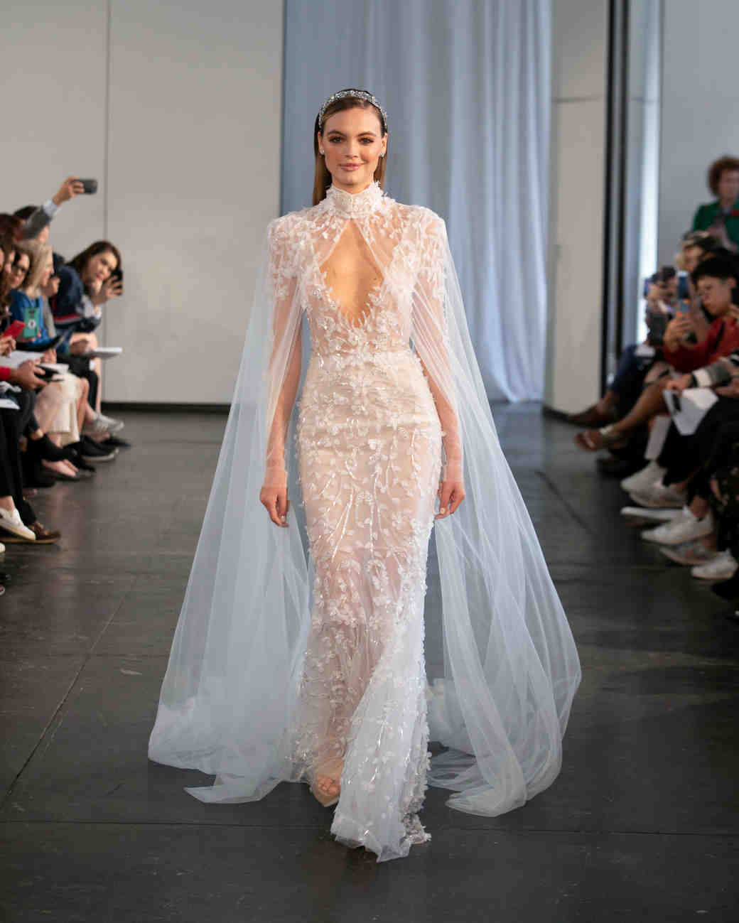 berta fall 2019 sheath sheer cape wedding dress