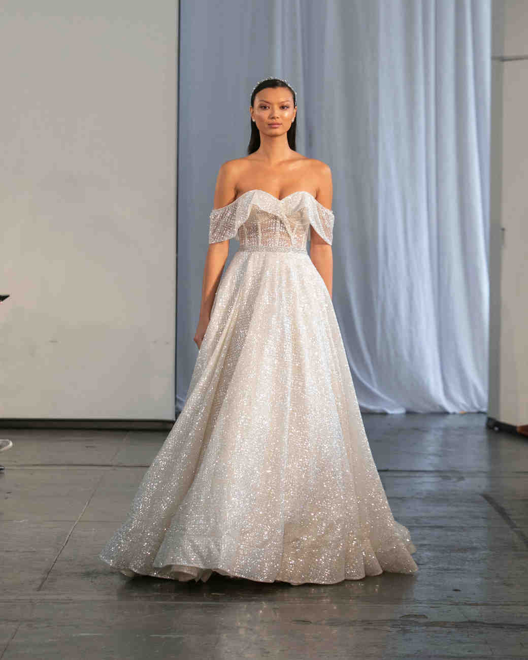 berta fall 2019 over the shoulder glitter a-line wedding dress