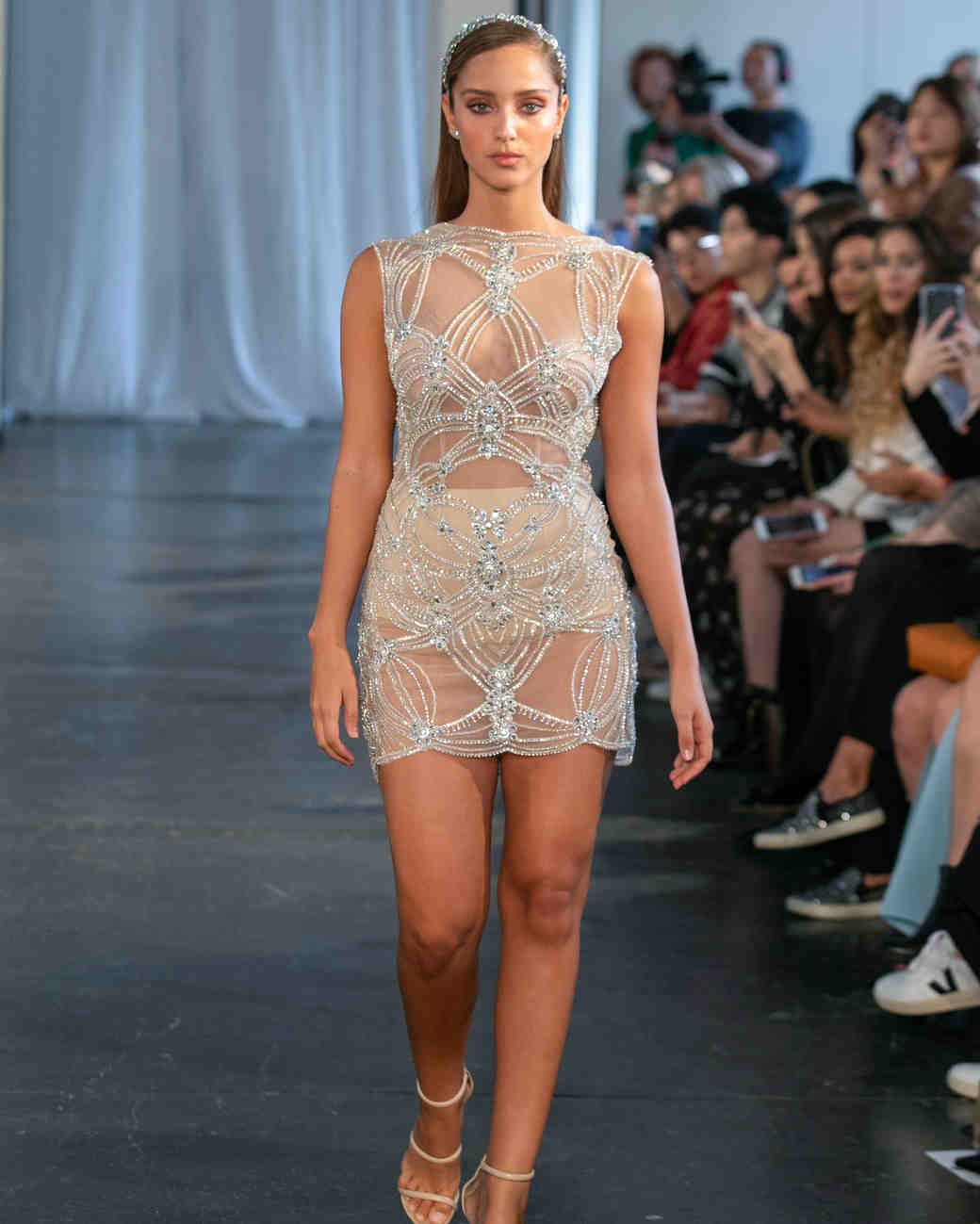 berta fall 2019 sheer high neck short wedding dress
