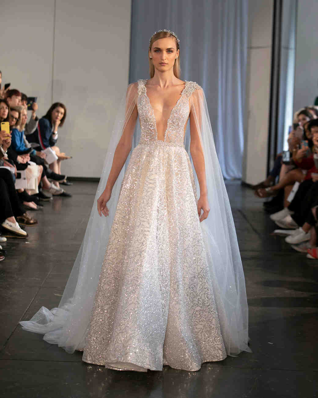 berta fall 2019 v-neck glitter a-line wedding dress