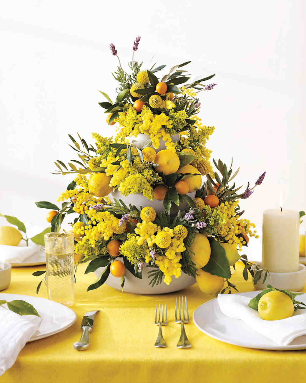 Tiered Yellow Flower Centerpiece