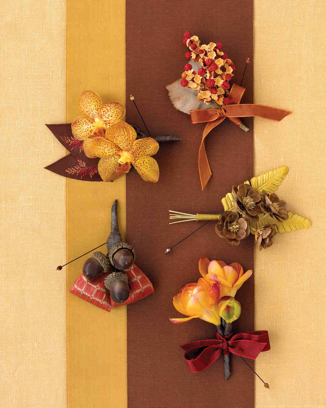 Diy boutonnire ideas for your wedding martha stewart weddings fall boutonnieres solutioingenieria Image collections