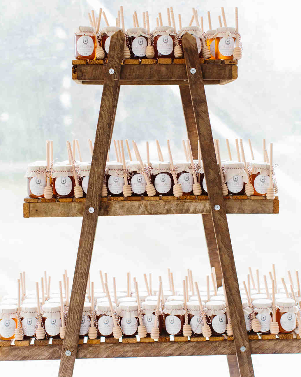 repurposed ladder favor display