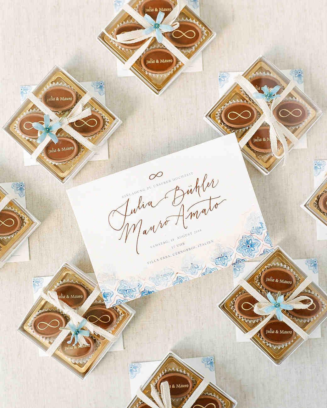 julia mauro wedding favors and invitation
