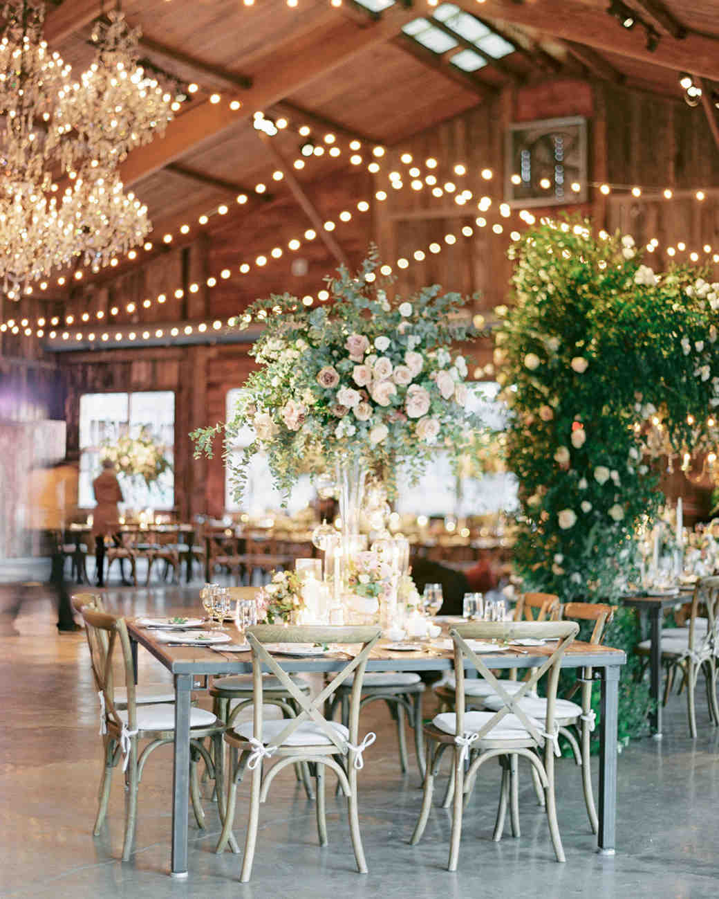 barn reception space hanging string lights