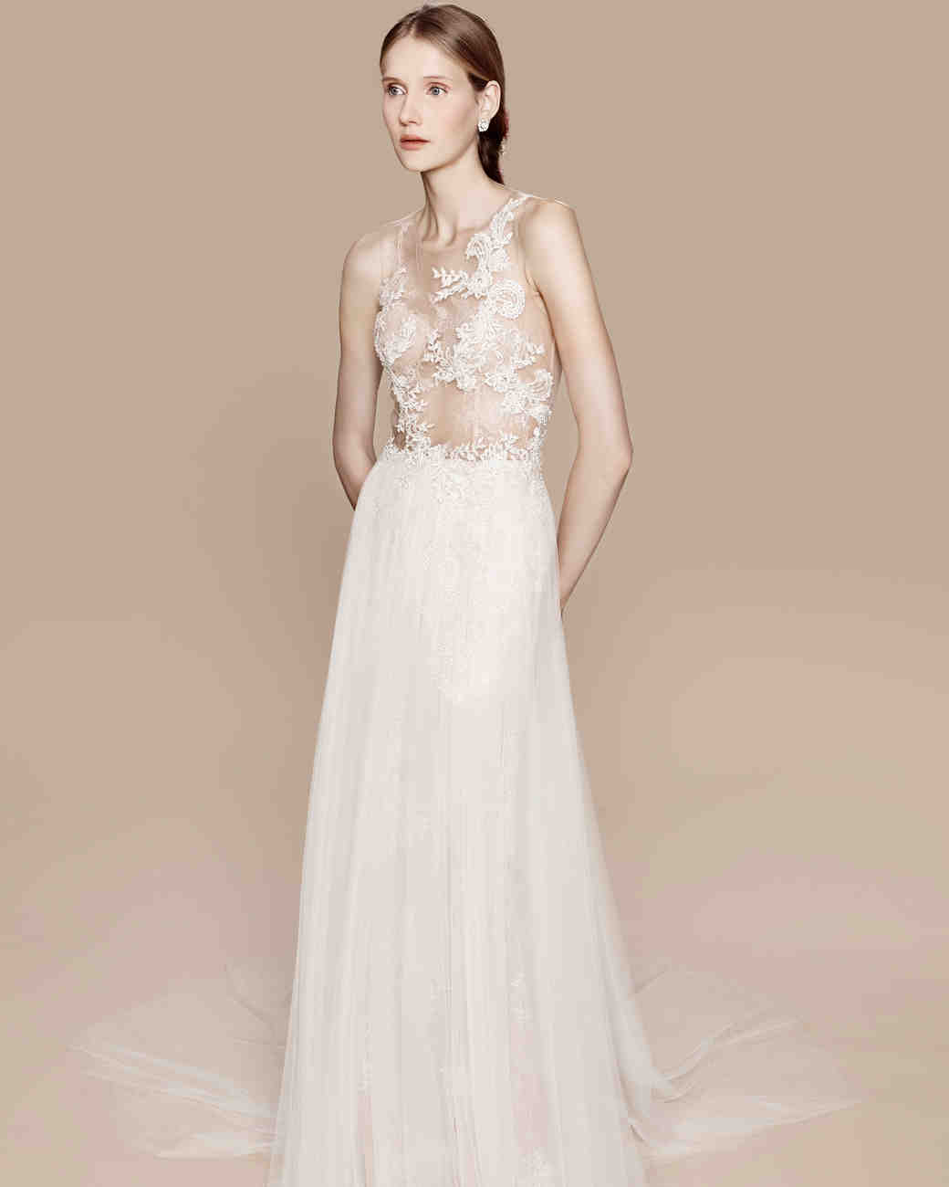 615d367cbe4 Ethereal Wedding Gown with Floral Appliques and Tulle