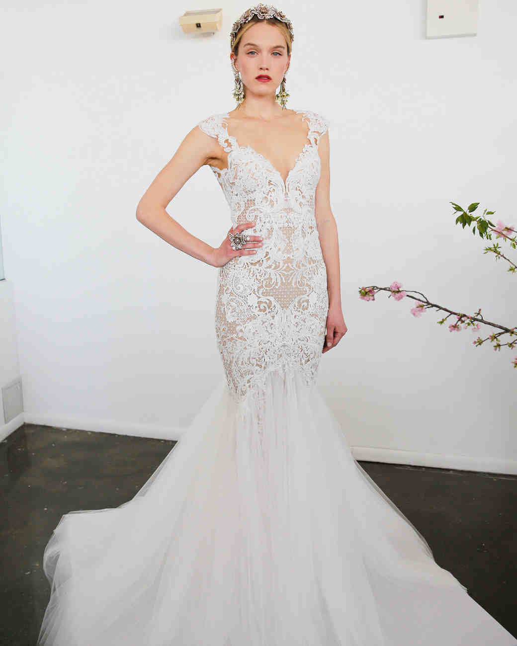 Marchesa Illusion Fit-and-Flare Gown