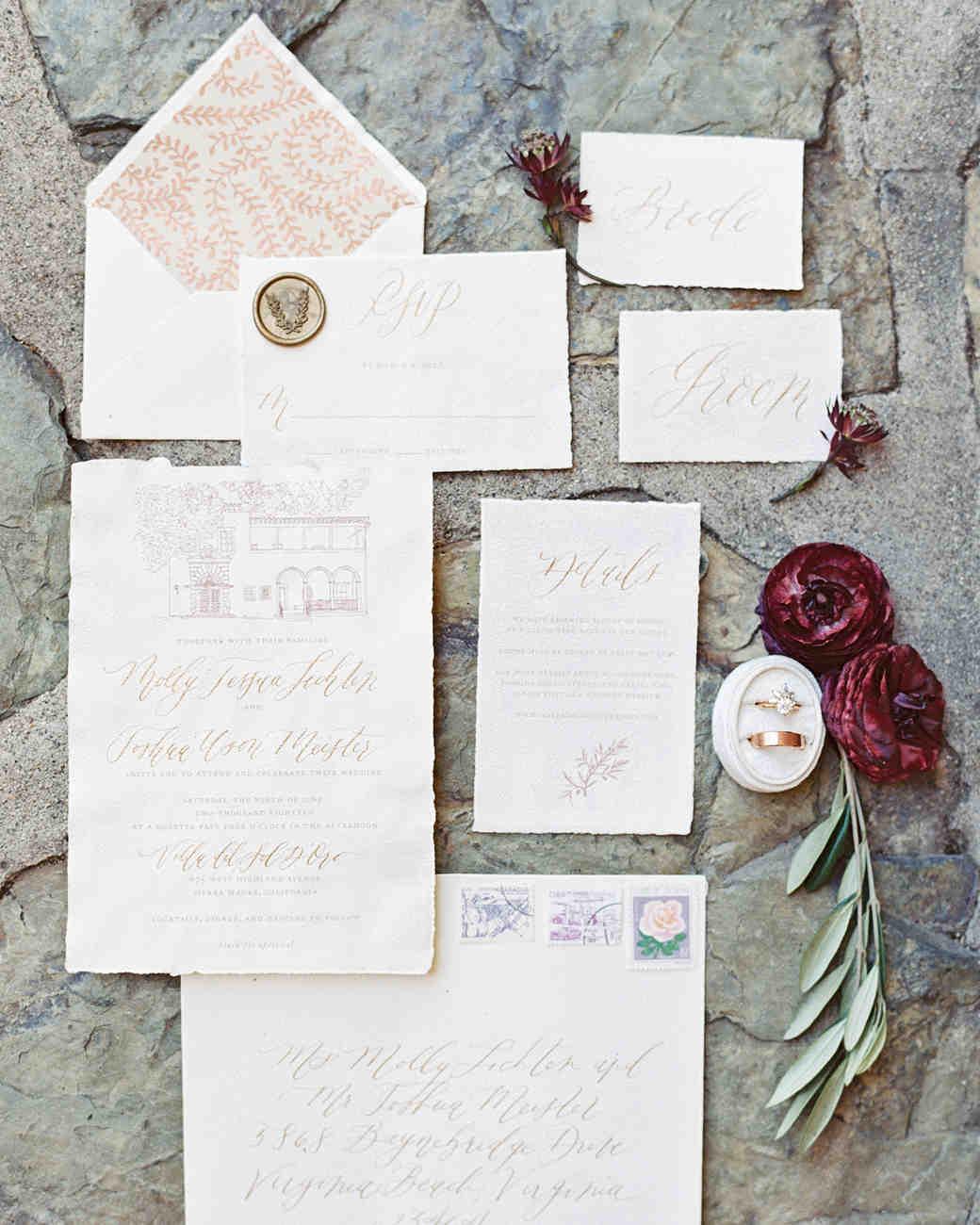 molly josh wedding invitations and stationary