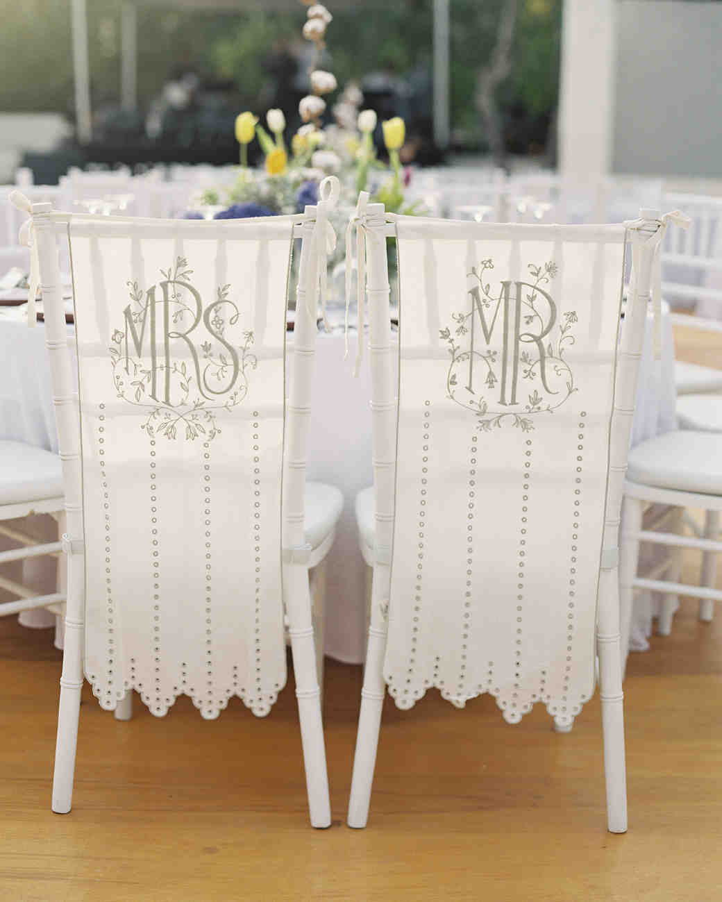 white fabric mrs and mr wedding signs