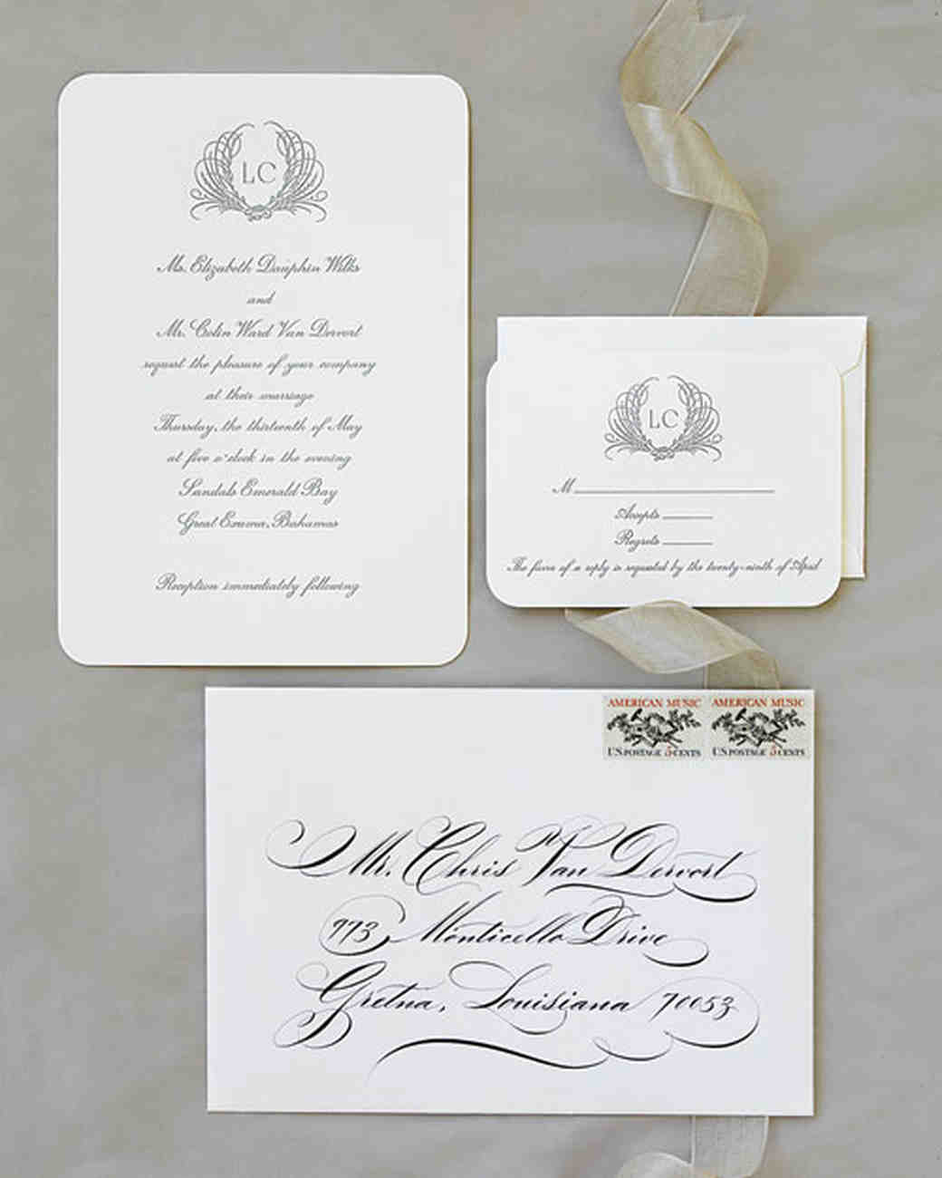 monogrammed wedding invitation