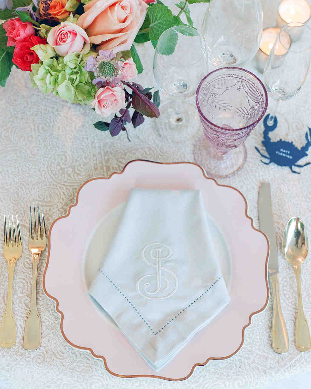 wedding reception napkin folds pentagonal fold on monogramed napkin