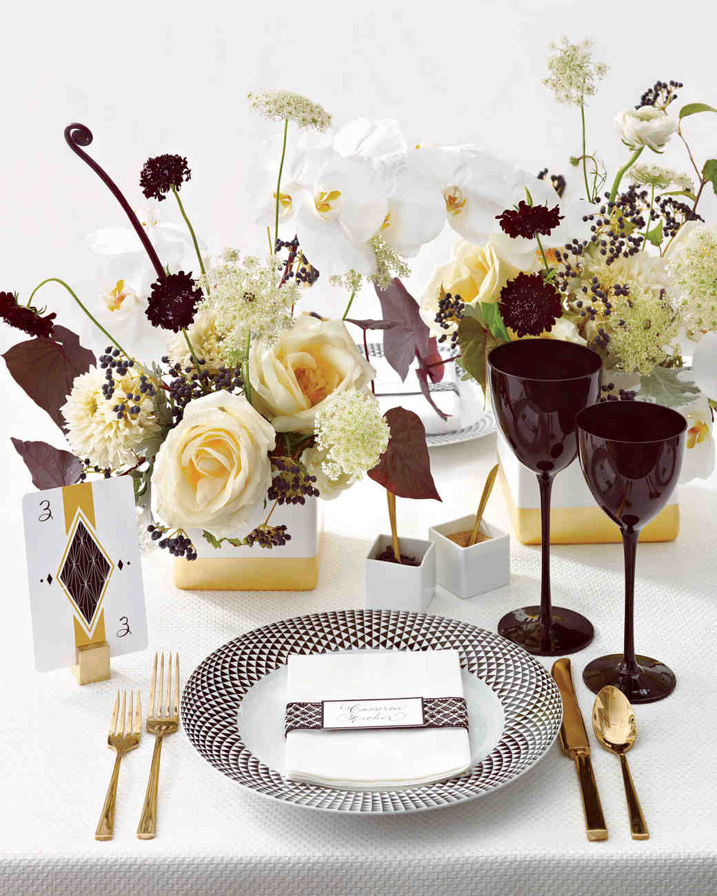 Table Setting & Wedding Colors: Black White and Gold | Martha Stewart Weddings
