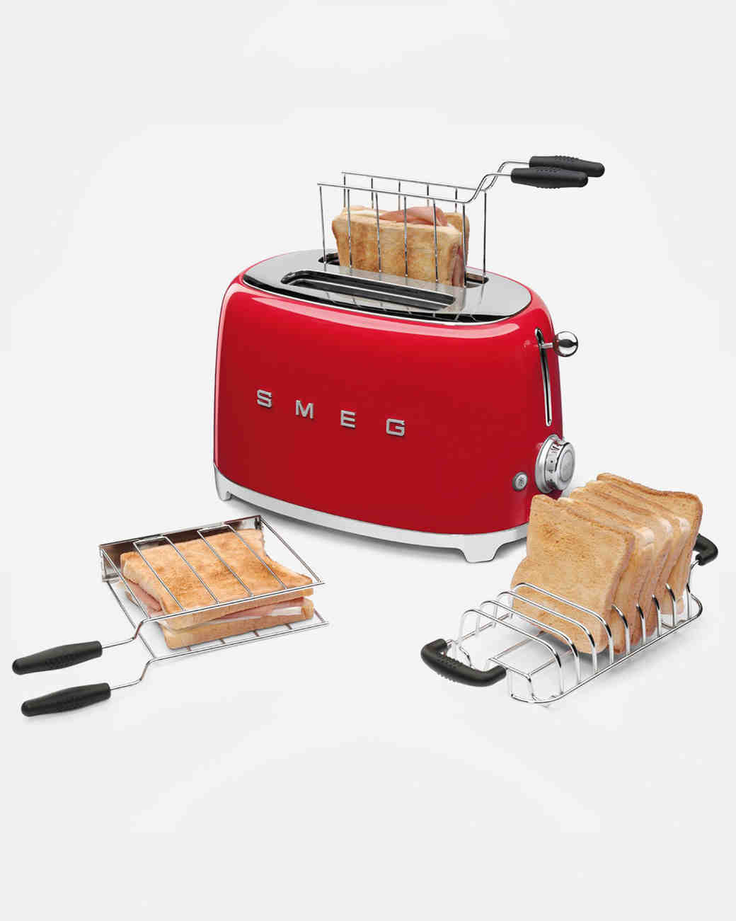 smeg red toaster two slice with basket