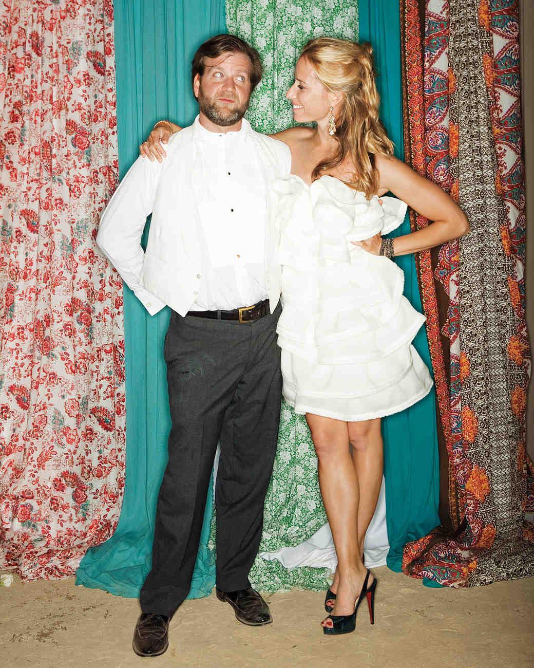 Bride in Short Flouncy Wedding Dress