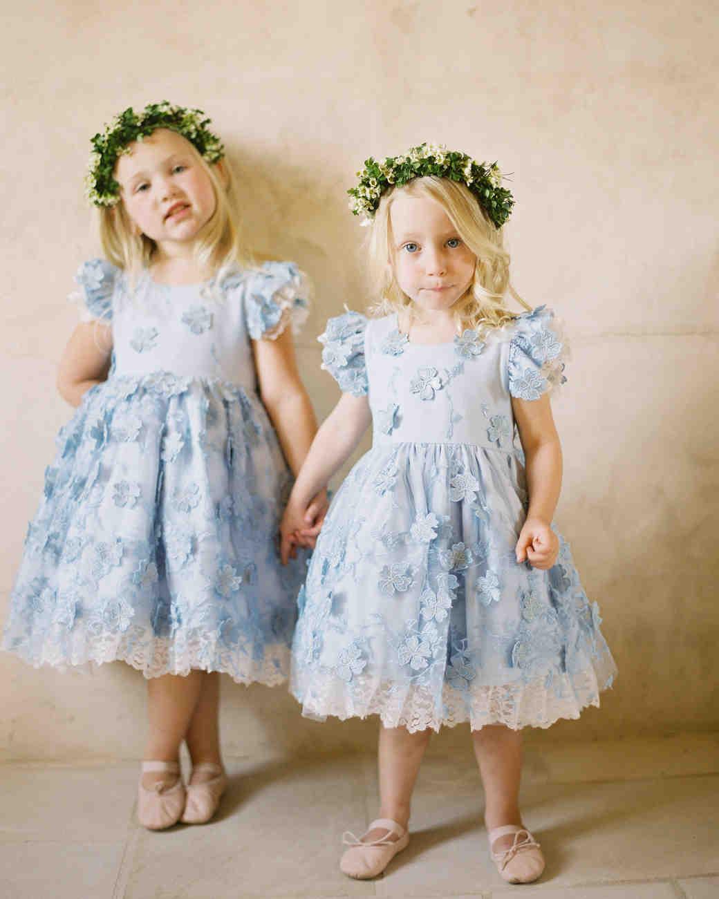 something blue flower girls blue dresses