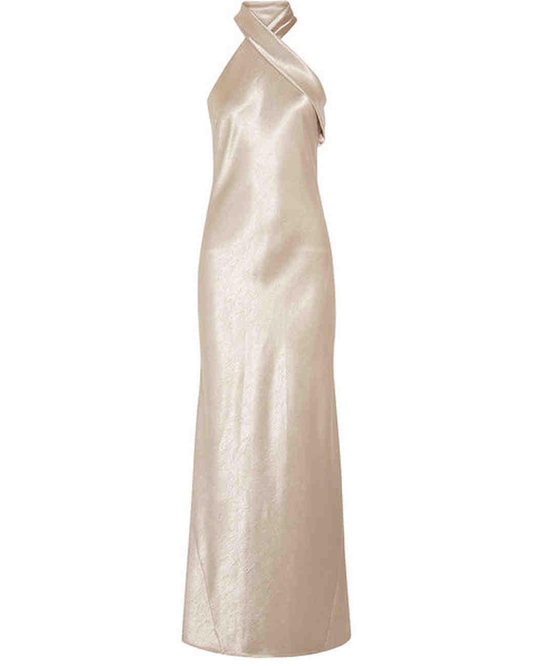 white halter gown
