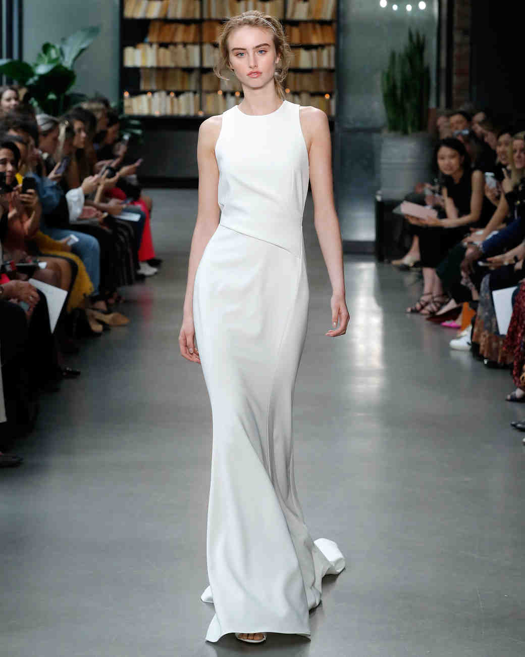 amsale fall 2019 minimalist high neck wedding dress