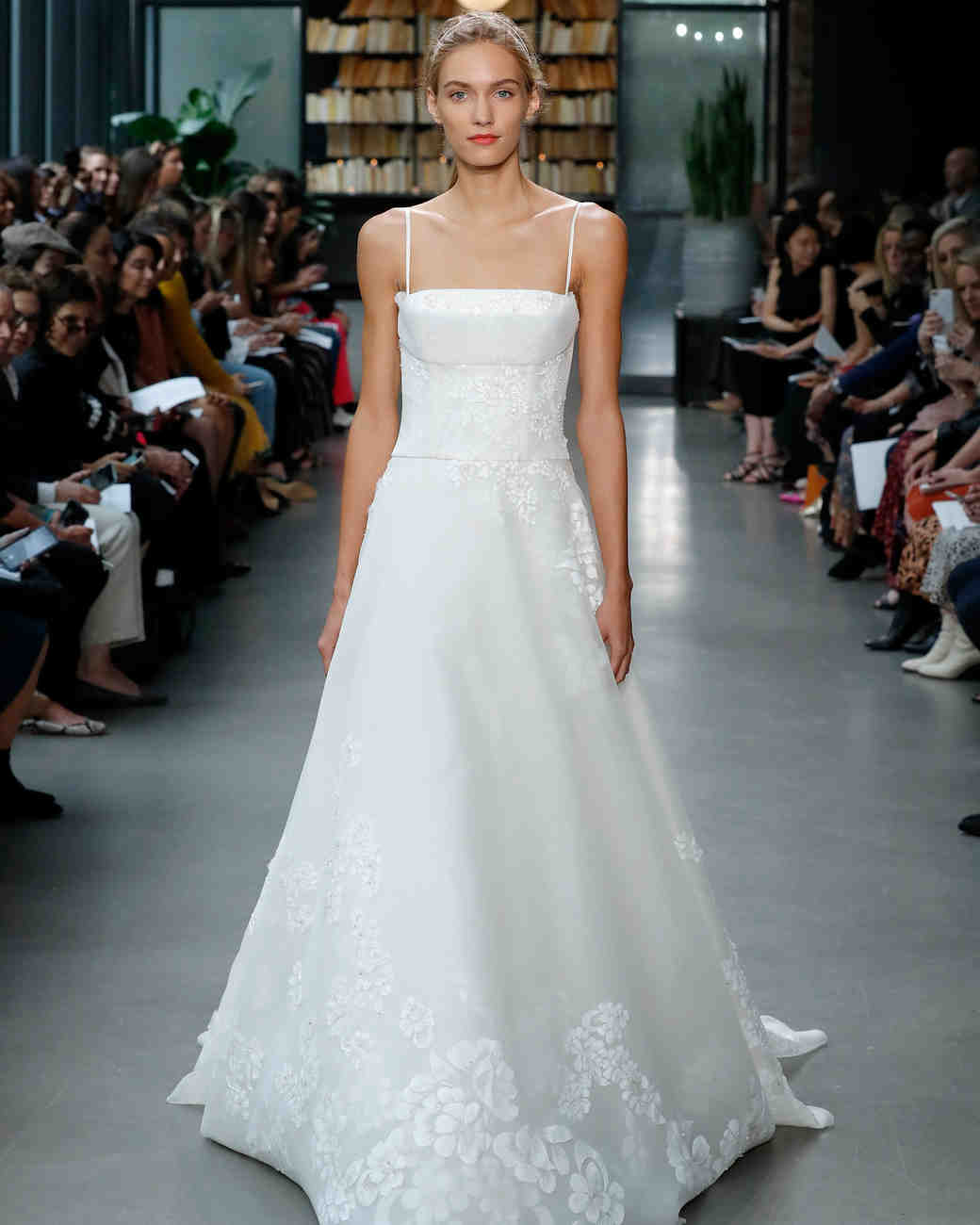 amsale fall 2019 spaghetti strap floral applique wedding dress