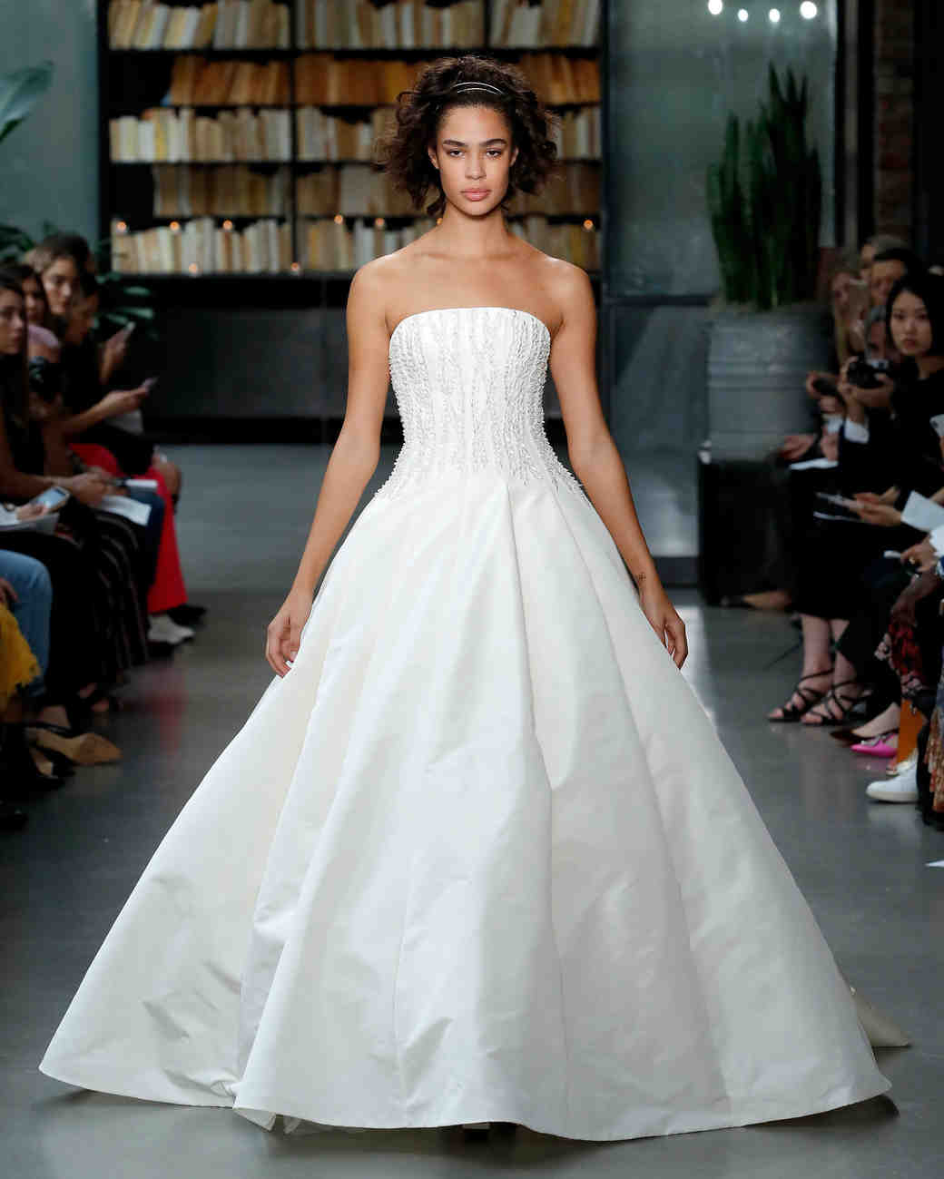 amsale fall 2019 strapless beaded ball gown wedding dress