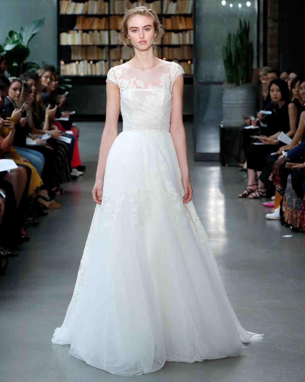 amsale fall 2019 illusion high neckline sheath wedding dress
