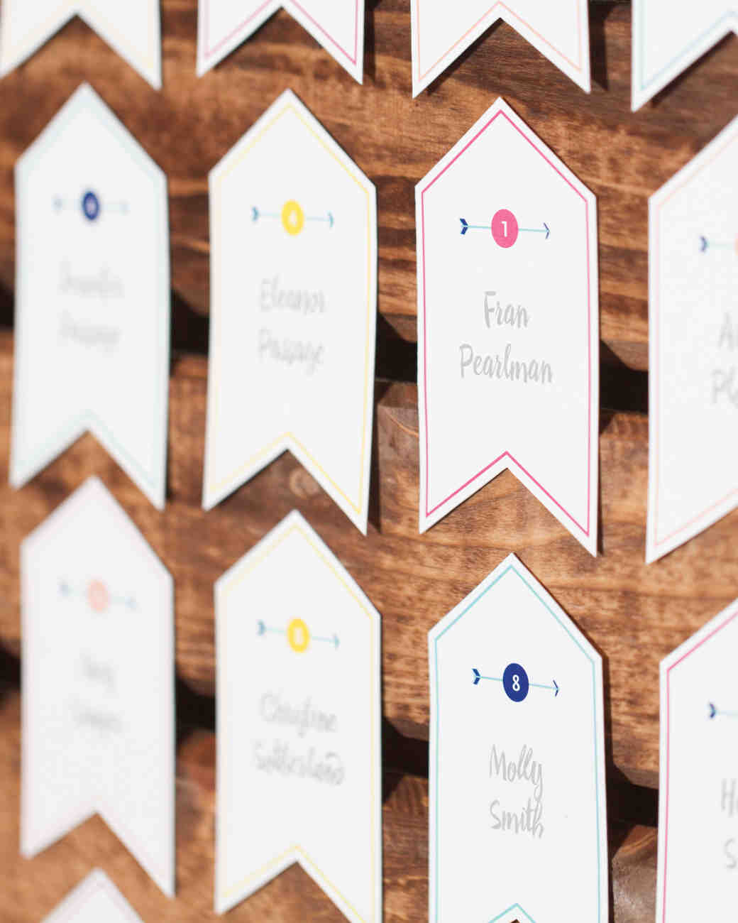 banner decor colorful escort cards