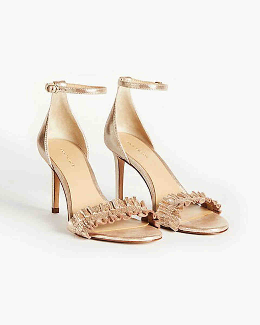metallic ankle strap sandals bridesmaid shoes