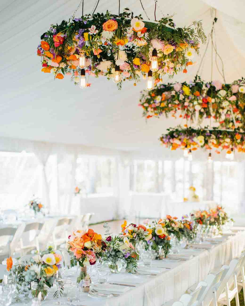 wedding chandelier hoops with bright flowers and light bulbs