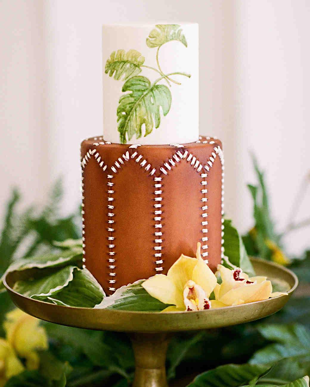 chocolate cake with botanical details