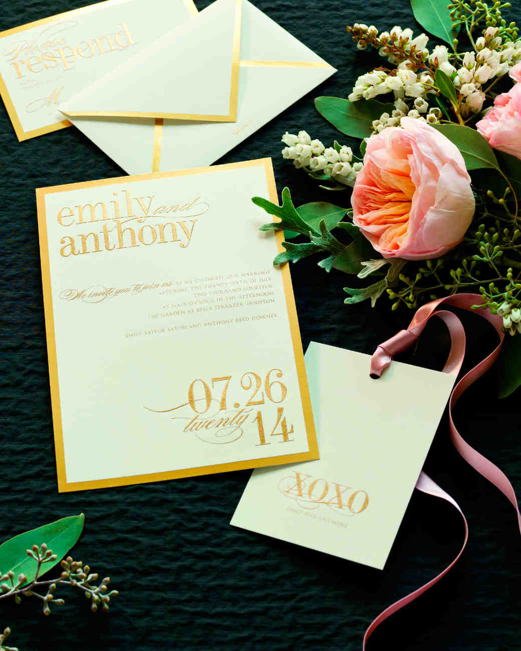 gold bordered wedding invitation