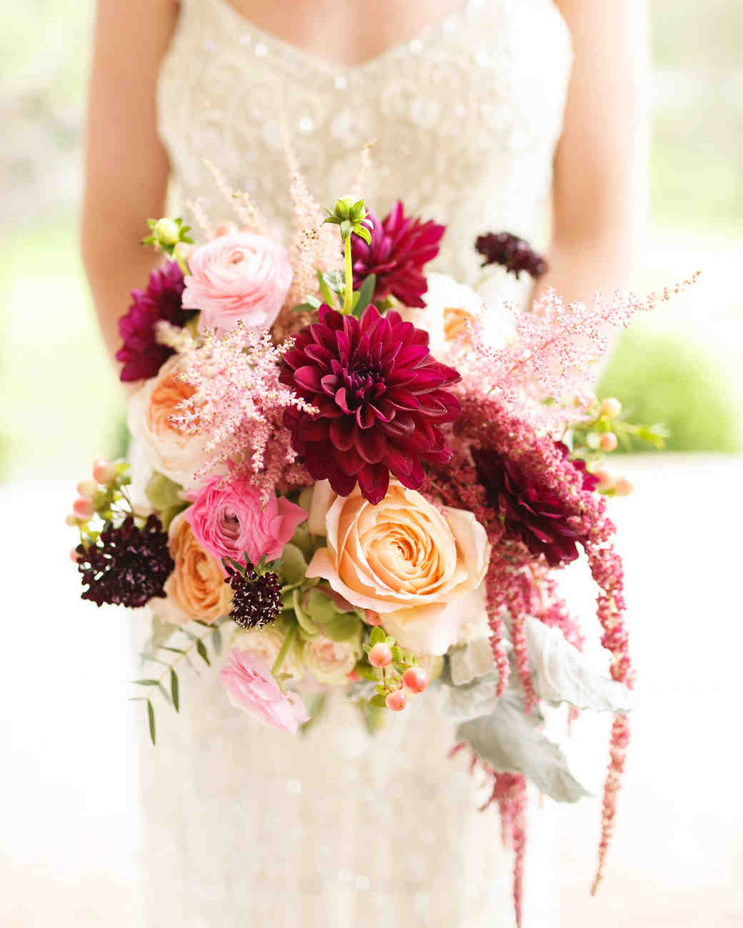 bride dahlia bouquet burgandy pink peach flowers