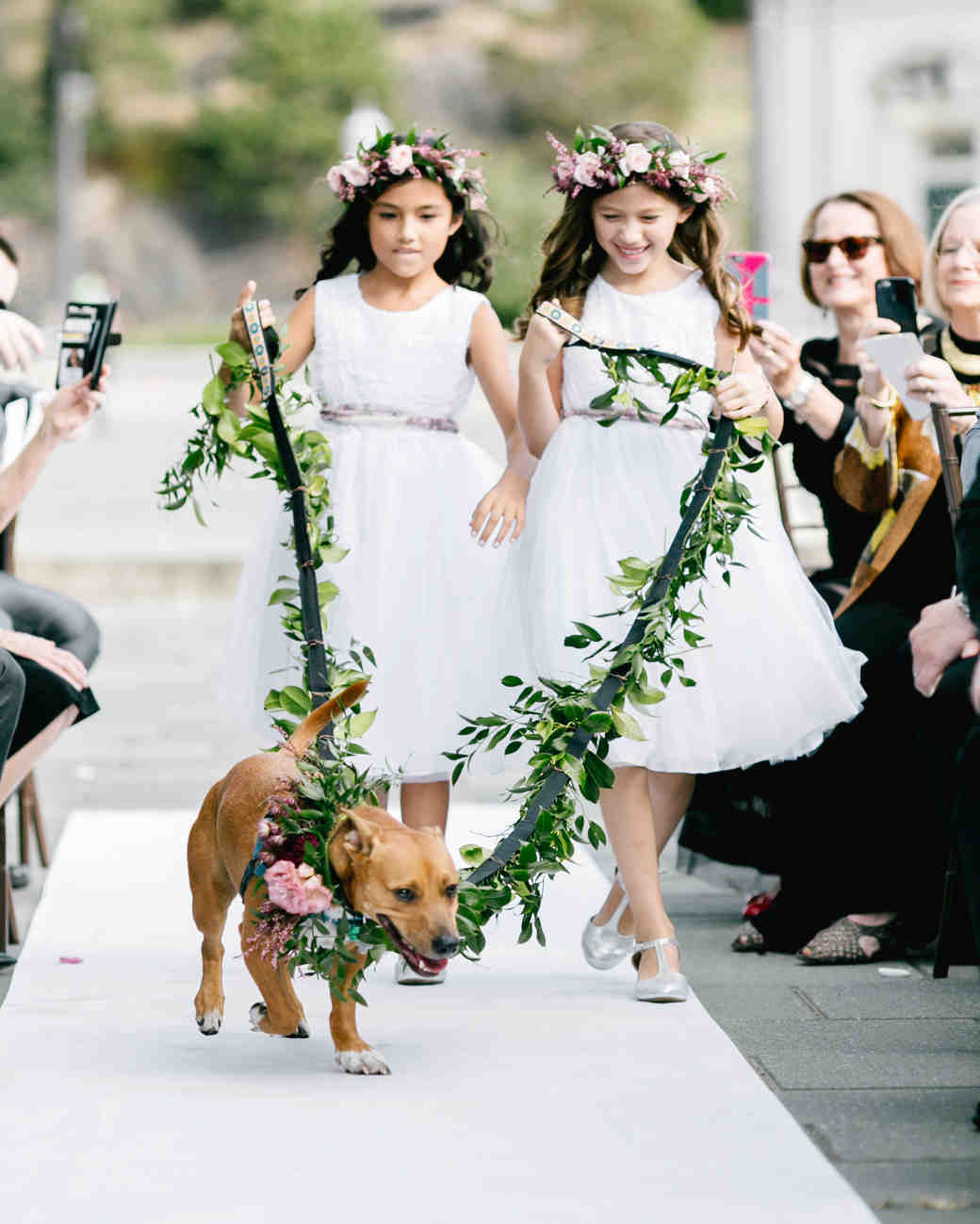 dog wedding flower girls greenery leash aisle