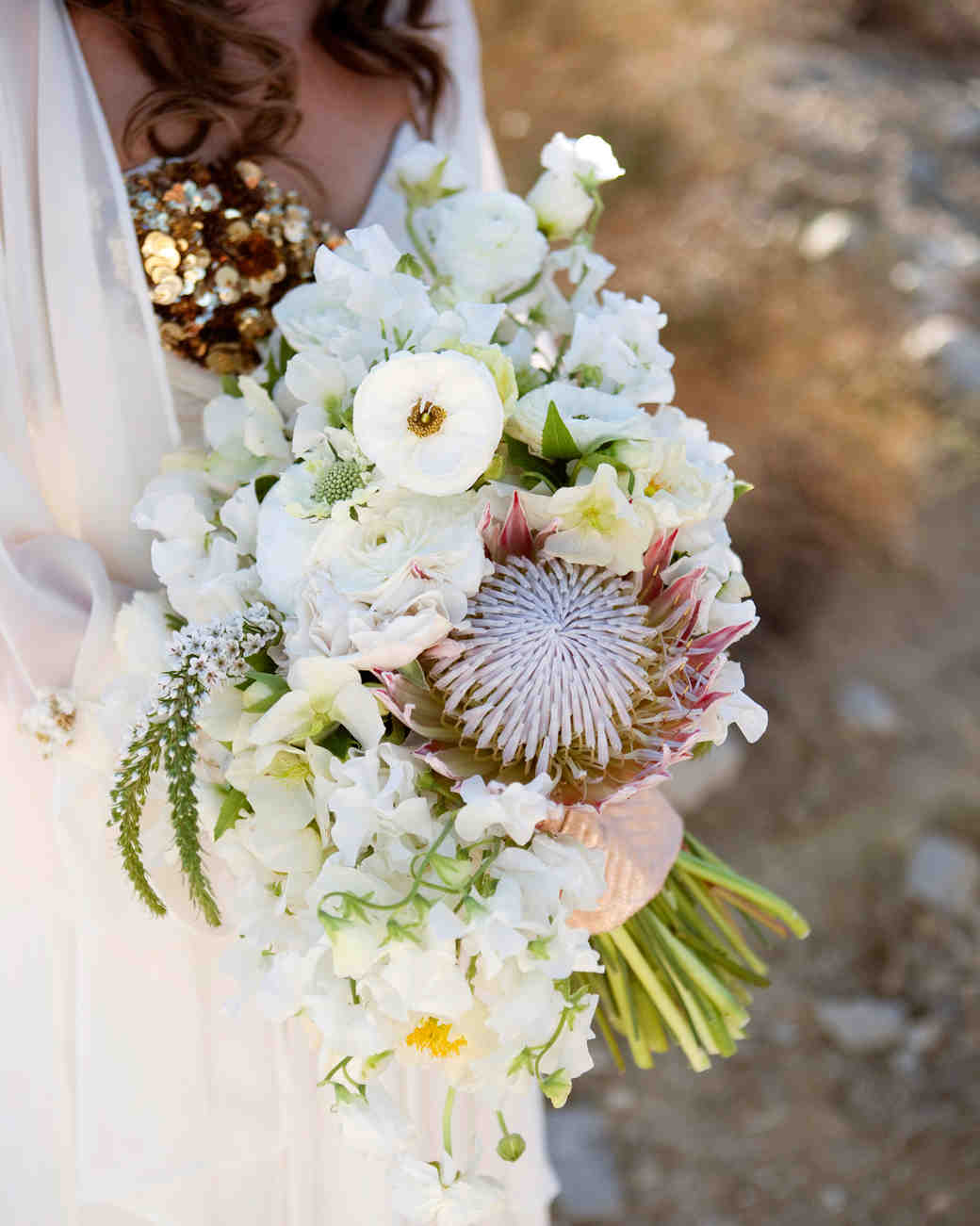 white protea wedding bouquet