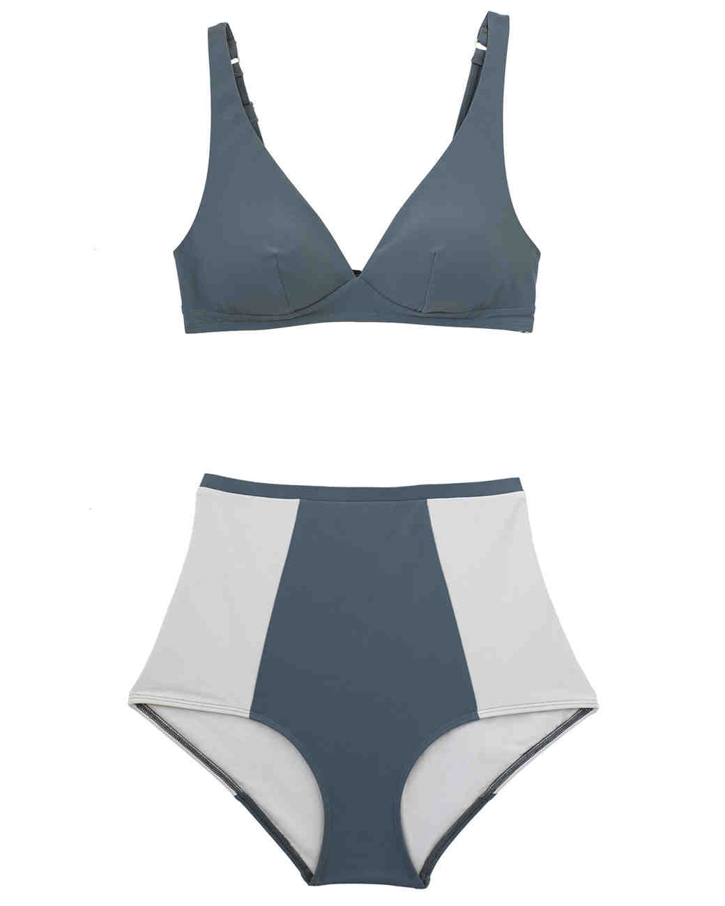 Gray Colorblock High-Waisted Bikini